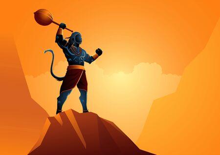 Vector illustration of Hanuman standing on the rock, Indian God of Hindu