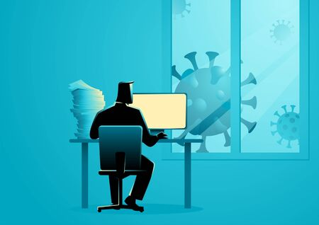 Vector illustration of a man working from home during the coronavirus outbreak