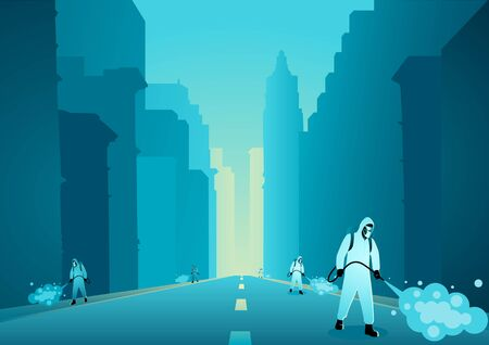 Vector illustration of a man in protective suit spraying disinfectant in empty city to cleaning and disinfect virus, Covid-19, Coronavirus, preventive measure Ilustrace