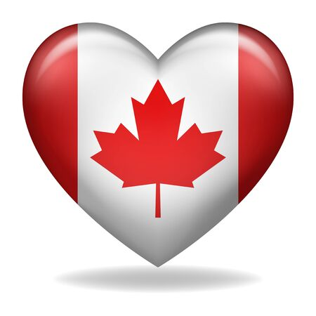 Vector illustration of heart shape of Canada insignia isolated on white Ilustração Vetorial
