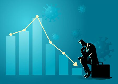 Financial and economic crisis due covid-19 pandemic symbolize by decreasing graphic chart and listless businessman