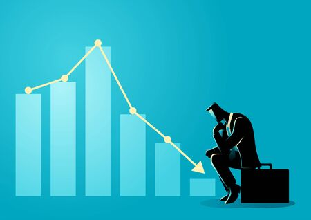 Vector illustration of a businessman sitting listless due to decreasing graphic chart
