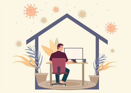 Simple flat vector illustration of a man working at home during coronavirus pandemic