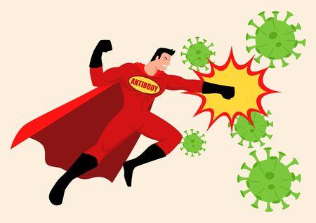 Simple flat vector illustration of a superhero fighting viruses. Coronavirus covid-19 concept in cartoon style illustration