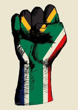Skizzenillustration einer Faust mit Südafrika-Abzeichen Vektorgrafik