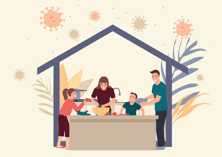 Simple flat vector illustration of family stay at home doing daily activity together.  Quarantine or self isolation during covid-19 pandemic