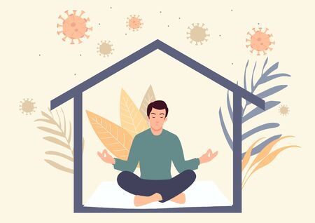 Simple flat vector illustration of stay at home concept. Man meditating during self isolation. Quarantine or self isolation during covid-19 pandemic