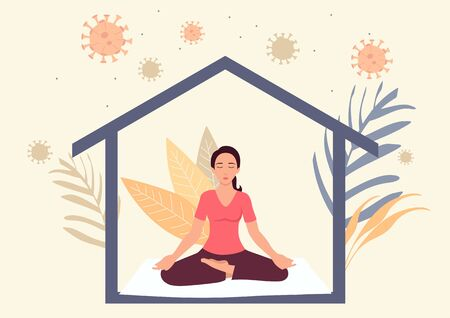 Simple flat vector illustration of stay at home concept. Woman meditating during self isolation. Quarantine or self isolation during covid-19 pandemic