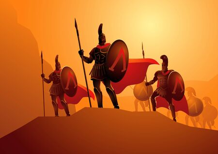Vector illustration of the famous three hundred Spartans getting ready for the famous Battle of Thermopylae