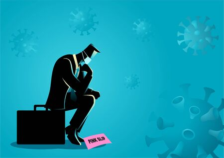 Vector illustration of a man loss job due to coronavirus. Covid-19 outbreak causing companies and businesses in crisis Ilustración de vector