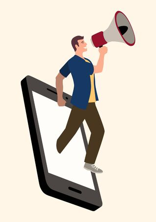 Simple flat vector illustration of a man using megaphone comes out from smart phone. Social media marketing, influencer, digital marketing concept