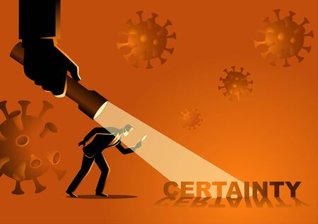 Business concept vector illustration of a businessman looking for certainty during covid-19 pandemic