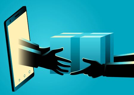 Vector illustration of hands come out of a smart phone screen delivering a package, online shopping concept