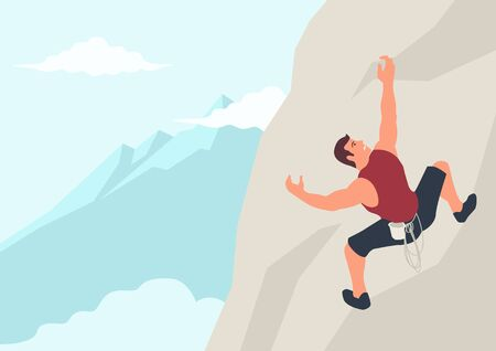 Simple flat vector cartoon illustration of a man climbing the rock