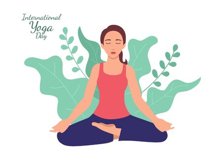 Simple flat vector illustration of a woman doing yoga with leaves decoration as the background. International Yoga Day Ilustração