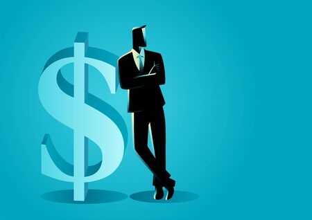Vector illustration of a businessman leaning on big dollar symbol
