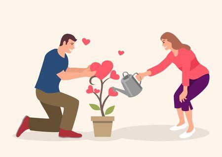 Simple flat cartoon illustration of couple watering love plant
