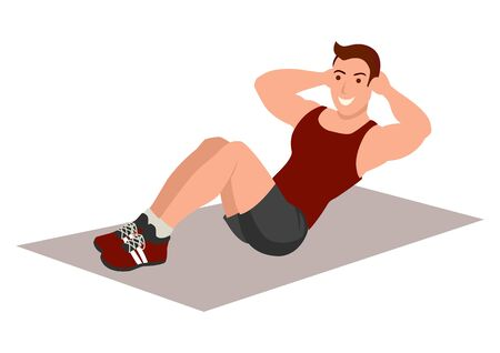 Simple flat vector illustration of a man doing sit up
