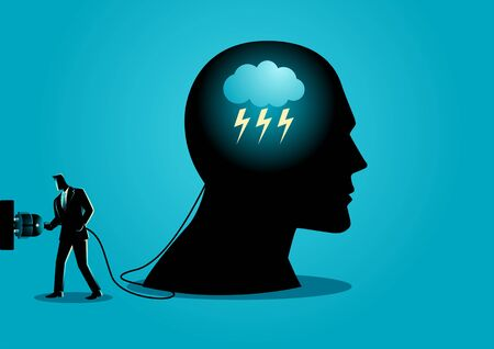 Business concept illustration of a businessman with electric plug and human head. Business idea, brainstorm, knowledge, innovation concept 矢量图像