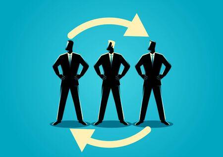 Business concept illustration, job rotation symbol Stock Illustratie