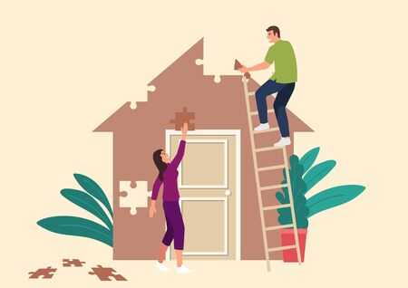 Simple flat vector illustration of couple building a house made from puzzle pieces