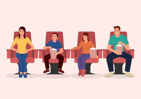 Simple flat vector illustration of happy family watching movie together