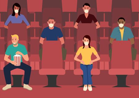 Simple flat vector illustration, spacing sitting in movie theatre, keeping a distance between others, safety from COVID-19. New normal