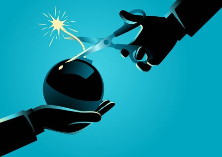 Business concept illustration of a man giving a bomb with a lit fuse and other man trying to diffuse it by cutting the fuse. Big problem and solution in business concept 矢量图像