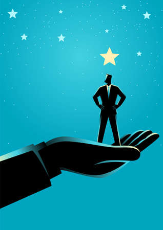 Business concept illustration of giant hand lifting up a businessman to the stars