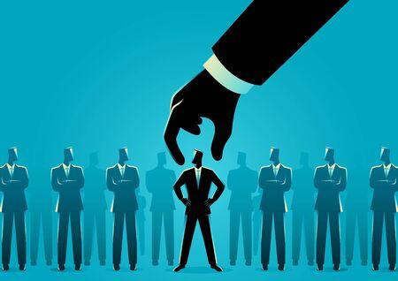 Business concept illustration of hand choosing and picking up businessman Vektorgrafik