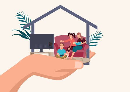 Simple flat cartoon illustration of father hand holding his happy family in a house, providing secure concept
