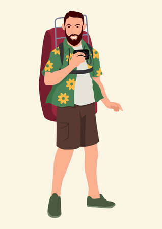 Simple flat cartoon vector illustration of a tourist with backpack Illustration