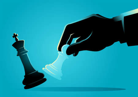 Business concept illustration of a businessman using a pawn to kick a king in chess game