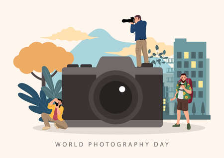 Simple flat cartoon vector illustration of photographers with big camera. World Photography Day