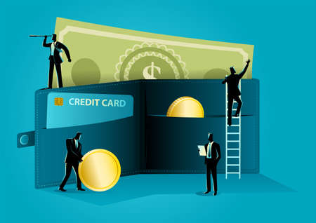 Business concept illustration of businessmen arranging money in giant wallet, cash and credit, money management concept