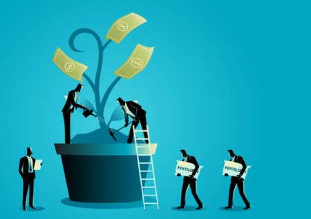 Business concept illustration of group of businessmen nurturing money tree, investment business concept 矢量图像
