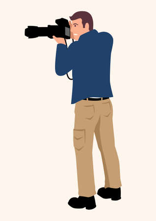 Simple flat cartoon vector illustration of a man using a professional DSLR camera with tele lens, creative profession or occupation 矢量图像