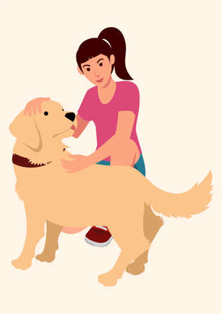 Simple flat cartoon vector illustration of a girl with her dog
