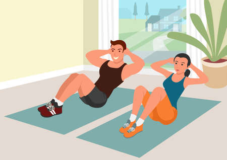 Simple flat vector cartoon illustration of couple working out together at home during quarantine. Situps training