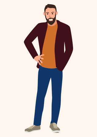 Simple flat cartoon vector illustration of a young man with beard