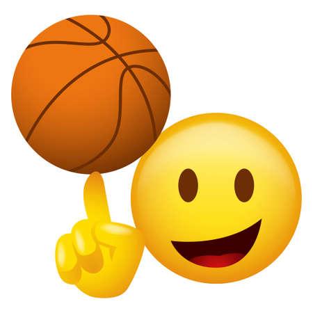 Vector illustration of emoticon spinning a basketball on his finger 矢量图像