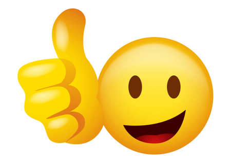 Vector illustration of emoticon doing thumb up 矢量图像