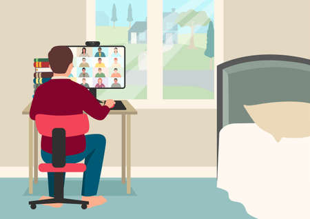 Simple flat vector cartoon illustration of a young boy online schooling, student having video conference with teacher and class group