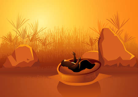 Biblical vector illustration series, baby Moses on the Nile