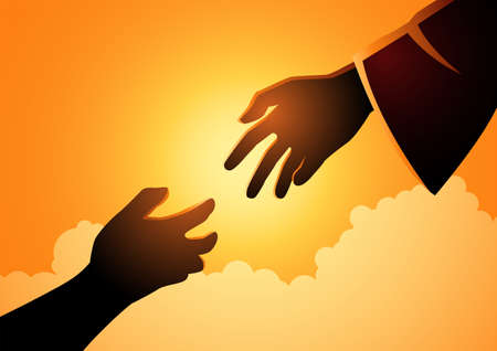 Biblical vector illustration series of God hand reaching out for human hand. Hope, help, God mercy concept Vettoriali