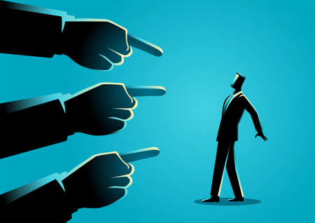 Business concept illustration of a businessman being pointed by giant fingers Vettoriali