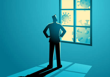 Vector illustration of man figure looking through the window. Self isolation, home quarantine, stay at home, covid-19 prevention concept
