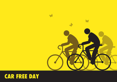 Simple flat graphic vector illustration of men figure riding bicycle, illustration for World Car Free Day awareness