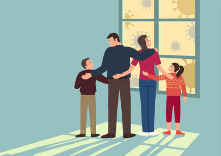 Simple flat vector cartoon illustration of a family stay at home together, protect your family from Covid-19 pandemic concept