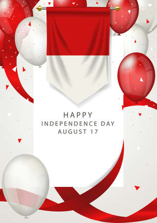 Indonesia independence day greeting card. Indonesia memorial holiday on 17th of August, Indonesia insignia with decorative balloons and ribbons